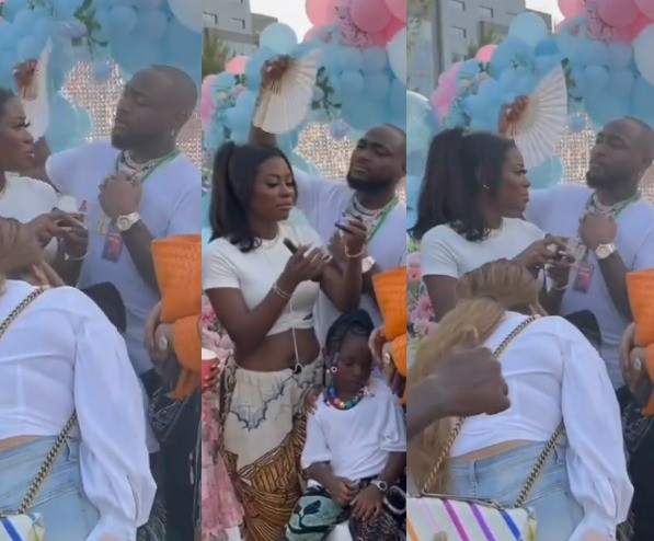 Davido caught on camera fanning first baby mama, Sophia Momodu