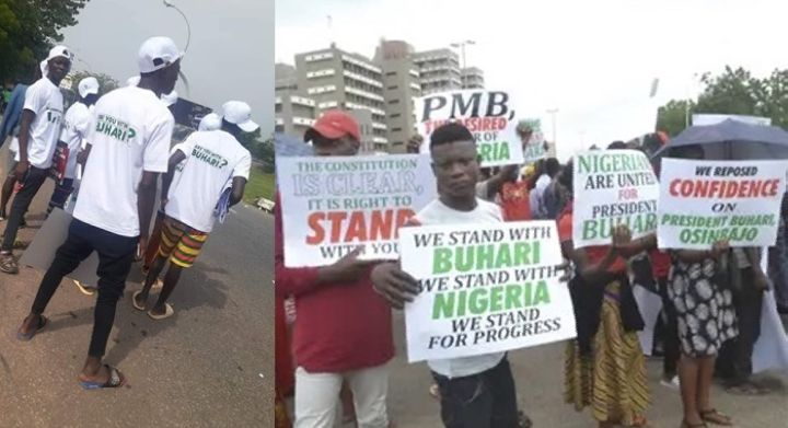 June 12: Fight breaks out among #IstandWithBuhari protesters over money